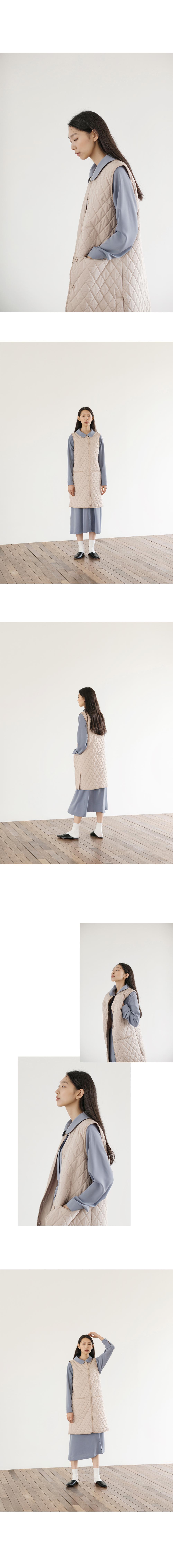 논로컬(NONLOCAL) Quilted Long Vest - Beige