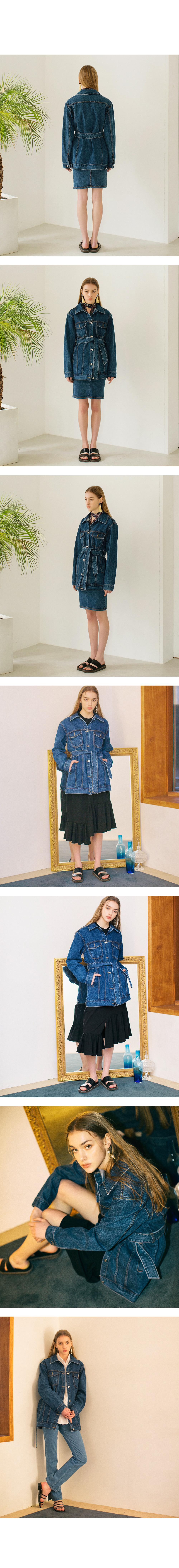 논로컬(NONLOCAL) Denim Safari Jacket -  Dark Blue