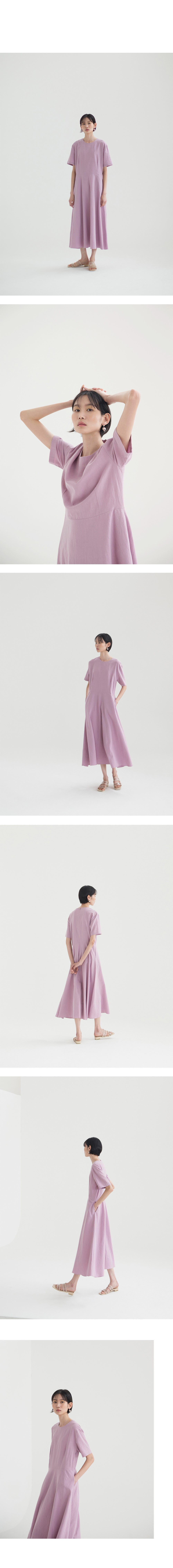 논로컬(NONLOCAL) [23th Re-stock] Linen Flared Dress - Lavender