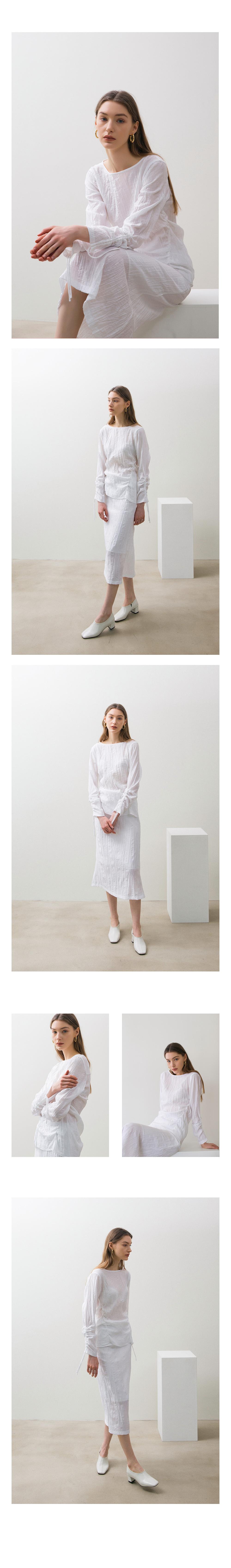 논로컬(NONLOCAL) Wave Shirring Skirts - White