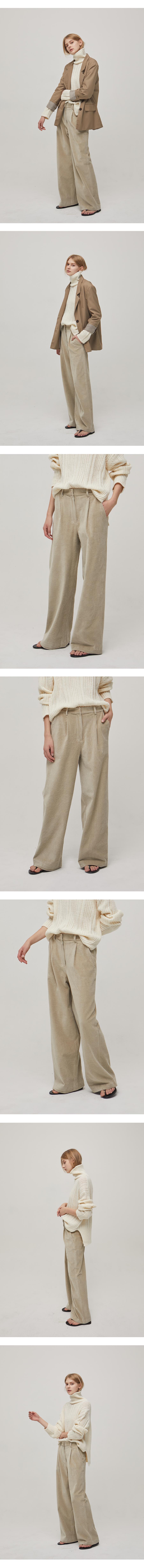 논로컬(NONLOCAL) [2th Re-stock] Tuck Corduroy Pants - Ivory