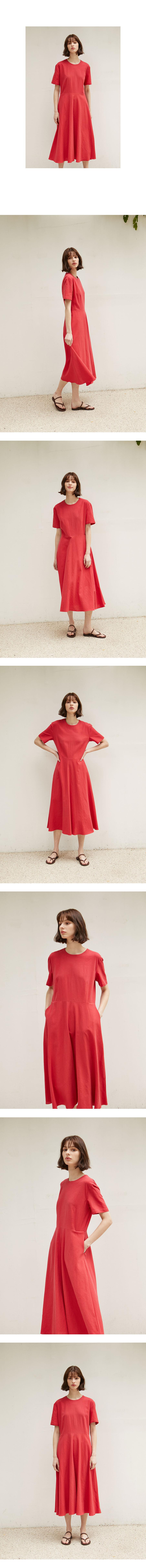 논로컬(NONLOCAL) Linen Flared Dress - Red